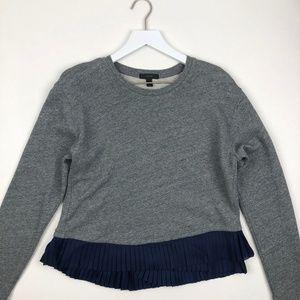J.Crew pleated ruffle hem sweatshirt for sale